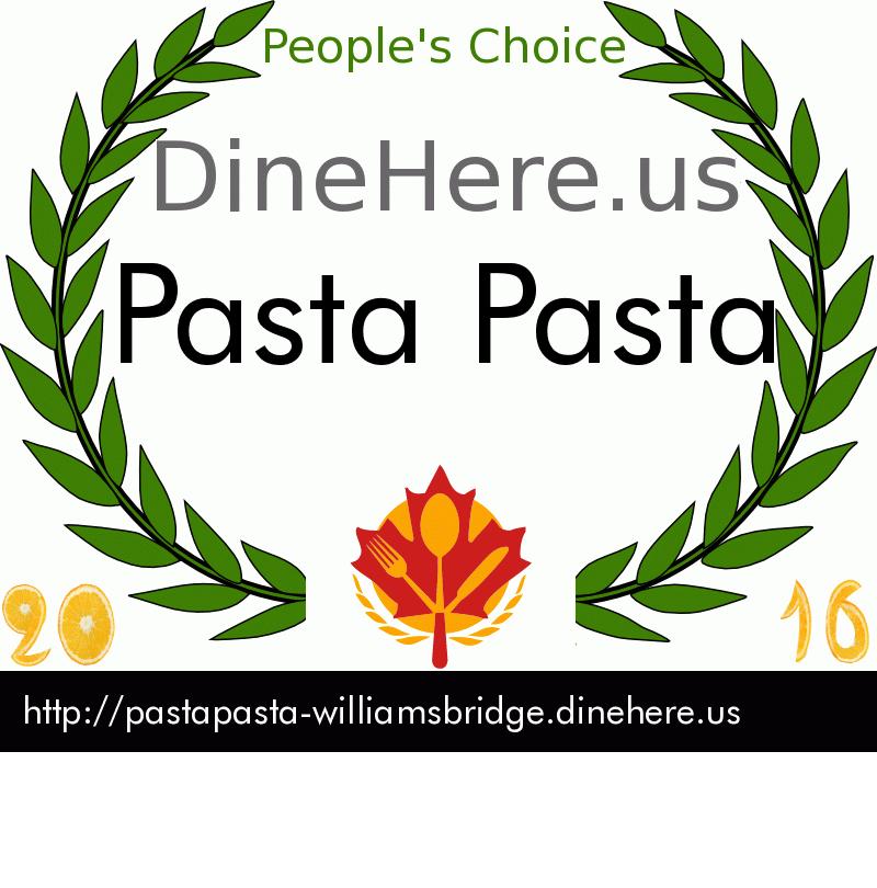 Pasta Pasta DineHere.us 2016 Award Winner